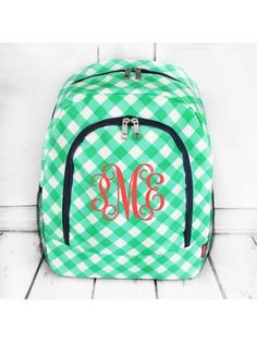 www.ewam.com Mint and White Diamond Gingham Large Backpack with Navy Trim