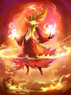 Delphox- Fennekin final evolution by KeiNhanGia.deviantart.com on @deviantART