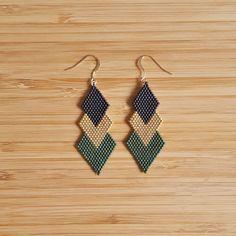 Earrings Gaia Gold Plated and Glass Beads Miyuki