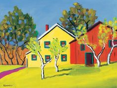 """Red and Yellow House"" canvas wall art by Robert Kennedy for GreenBox Art + Culture $119"