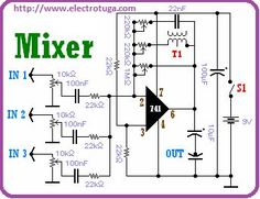 5 Channel Portable Audio Mixer Audio Mixer schema using in 2019 Electronics Projects, Power Electronics, Hobby Electronics, Electronics Basics, Electronic Circuit Design, Electronic Engineering, Diy Guitar Amp, Arduino, Sony Led
