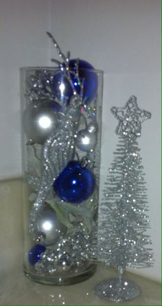 Christmas Holiday Glass Jar Blue Silver Pearl Coral Decoration Ornament Centerpiece