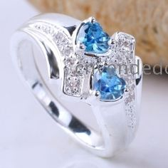 Women eLuna 5X5 2-Hearts Blue Topaz Engagement Silver Ring Yin J7950 Size 7 Silver Engagement Rings