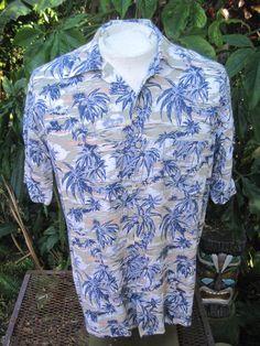 79519842 Hawaiian ALOHA shirt M pit to pit 22.5 NATURAL ISSUE rayon palm trees jungle