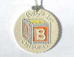 BABYS FIRST CHRISTMAS handmade ceramic ornament pink light blue lemon yellow orange highly textured block gift by Faith Ann Originals via Etsy