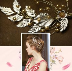 Gold Faux Pearl Leaf Vintage Style Wedding Hair Clip Headpiece Accessories