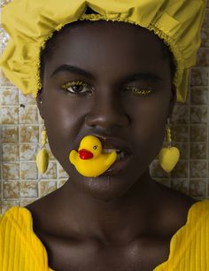 Tifeny Moreira for Lady Gunn Magazine by Alain Vasallo / Makeup by Lauren Paige Aquatic Birds, Dark Skin Girls, Yellow And Brown, Rubber Duck, Continents, Editorial Fashion, Fashion Photography, African, Stylists