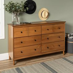 Walker Edison Modern 6 Drawer Dresser- Caramel at Lowe's. This roomy wood dresser gives you just the space you need to fit your clothing pieces in, while also having a classic and simple style. Dresser With Tv, Solid Wood Dresser, 6 Drawer Dresser, Unfinished Wood Dresser, Natural Wood Dresser, Pine Dresser, Wood Chest, Refurbished Furniture, Home Furniture
