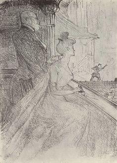 Анри де Тулуз-Лотрек. Ложа, на представлении Фауста. 1896 г. 35,2 х 25,2 см Литография.