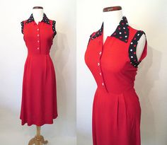 Adorable 1940's Lipstick Red Linen Day Dress with by wearitagain