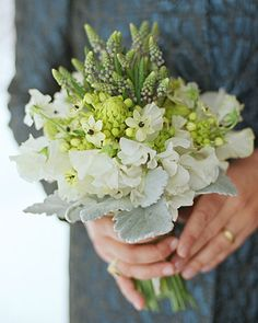 White and green flowers create a modern and rustic bouquet