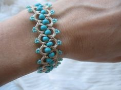 Tatting lace bracelet Glass beads jewellery Hand tatted victorian boho beaded…