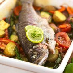 Imaginea rețetei Păstrăv la cuptor Fresh Rolls, Foods, Ethnic Recipes, Food Food, Food Items