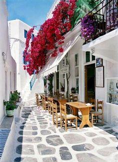 calle con balcones llenos de flores rojas