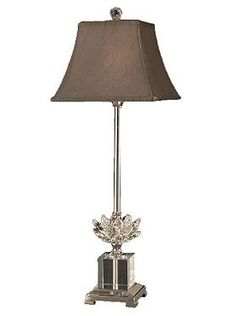 Add a touch of radiance to your home with the Lotus Crystal Buffet Lamp that boasts an elegant crystal base with polish nickel finish and charcoal fabric shade.