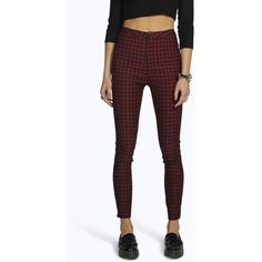 Boohoo Blue Lara High Rise Gingham Denim Skinny Jeans ($44) ❤ liked on Polyvore featuring jeans, black, distressed boyfriend jeans, super skinny jeans, slim straight jeans, destroyed boyfriend jeans and destroyed skinny jeans