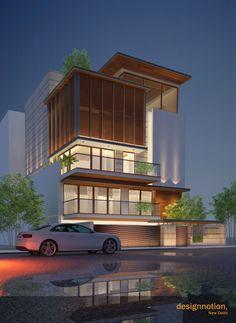 Gk | Residence, New Delhi by designnotion Flat House Design, House Front Design, Architect Fees, Easy Meditation, Narrow House, House Elevation, Facade House, Modern Houses, Exterior Design