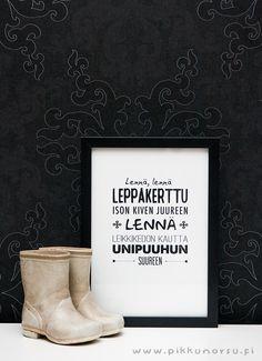 Lennä, lennä, leppäkerttu ison kiven juureen. Postcard 4,20 €, poster from 20,90 €.