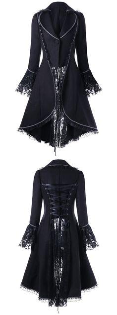 Lace Trim Lace-up High Low Coat