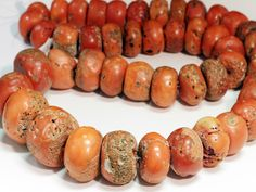 Coral Large Rounded Bead Strand 7301