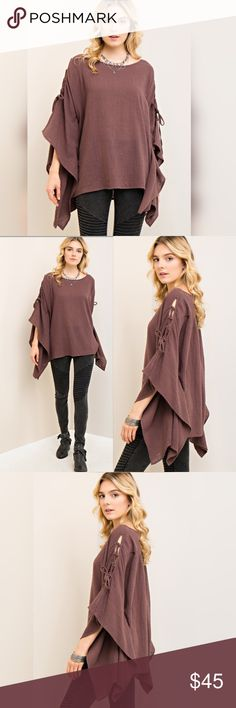 MOCHA TUNIC So pretty! Solid crinkled boat-neck top featuring self-tie detail at kimono sleeves. Shark-bite hemline. Non-sheer. Woven. Lightweight. 100% cotton. Tops Tunics