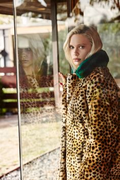 Lilah Summer in our Green Collar Leopard Faux Fur Coat