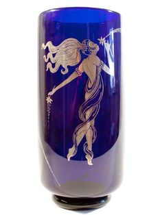 Lady Vase in Blue and Silver