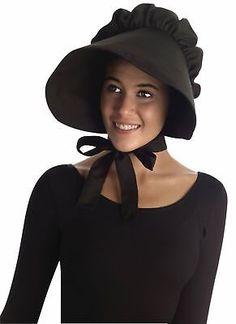 6a874098767 18th Century Colonial 163129  Black Pilgrim Lady Bonnet Colonial Quaker Hat  Cap Adult Costume Accessory