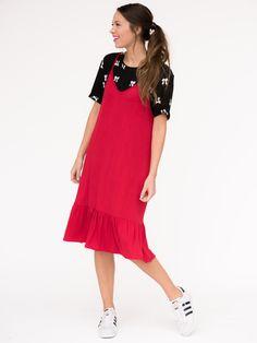 299a431998cce Agnes & Dora - Slip Dress Poppy Red Slip Dress, Red Summer Dresses, Summer