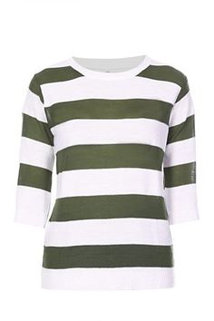 3/4 sleeves. Crew neck. All over stripe detail. Regular fit.<BR><BR>Fabric Content:<BR>100% Acrylic-knitted<BR><BR>Wash Care:<BR>Machine washable