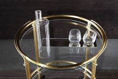 Riki / Trolley in 8 mm transparent glass. Painted glass as per samples, in the bright or satin version on request. Protected brass frame on request. Bar Trolley, Trendy Bar, Gold Bar Cart, Modern Design, Chrome, Brass, Web Images, Living Spaces, Satin