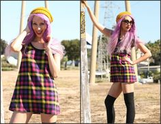 Vintage 80s plaid school girl mini dress top by Foxygalsvintage