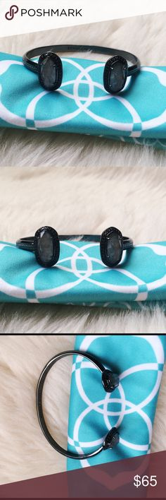 Kendra Scott Erica Kendra Scott Erica pinch cuff in Gunmetal with grey stone.  Excellent condition, like new!  Comes with KS dust bag. Kendra Scott Jewelry Bracelets