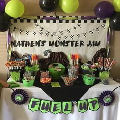 Fuel up banner! Candy table banner. #monstertruckbirthdayparty #monstertruckparty #monstertruckbanner #monstertruckcandytablebanner #candytablebanner #monsterjam #monsterjamparty #gravediggercolors #fueluponcandy #banners #banner #etsyseller #etsy