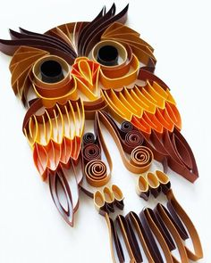 Quilled Paper Art: Colourful Owl Handmade Artwork by Gericards