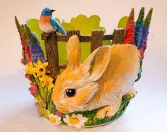 Spring cottage garden yarn bowl.