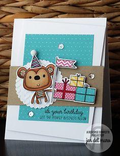 Birthday card by Jen del Muro. Reverse Confetti stamp set and coordinating Confetti Cuts: Monkey Business.