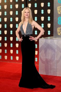 Nicole Kidman took the plunge in a slinky black gown she accessorized with a jaw-dropping diamond necklace. Stunning! (Photo by Mike Marsland/Mike Marsland/WireImage)  via @AOL_Lifestyle Read more: https://www.aol.com/article/entertainment/2017/02/12/bafta-awards-2017-red-carpet-arrivals/21712310/?a_dgi=aolshare_pinterest#fullscreen