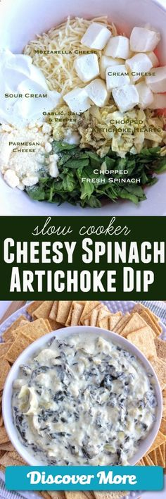 Slow Cooker Cheesy Spinach Artichoke Dip www.togetherasfam... #slowcooker #slowcook #slowcookerrecipes #slowcookerchicken