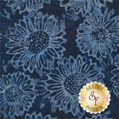 Botanica 2 FB019-94 Dark Navy by Fresh Batiks for Clothworks Fabric: Botanica is a batik collection by Fresh Batiks for Clothworks Fabrics. This batik fabric features allover blue sunflowers on a mottled navy blue background.