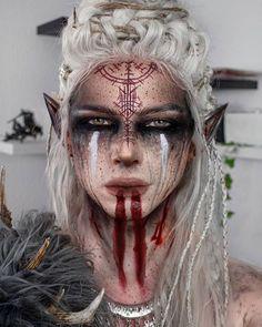 Sfx Makeup, Cosplay Makeup, Makeup Art, Demon Makeup, Makeup Inspo, Makeup Inspiration, Viking Makeup, Fantasy Make Up, Fantasias Halloween