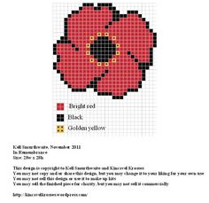 Poppy Design: In Remembrance Size: x Designer: Kell Smurthwaite, Kincavel Krosses Permissions: This design is copyright to Kell Smurthwaite and Kincavel Krosses You may use, copy and/or share thi… Native Beading Patterns, Beadwork Designs, Bead Loom Patterns, Cross Stitch Patterns, Tiny Cross Stitch, Cross Stitch Flowers, Cross Stitching, Cross Stitch Embroidery, Poppy Craft