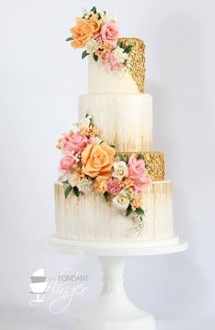 glitter wedding cake with sugar flowers / http://www.deerpearlflowers.com/glitter-wedding-ideas-and-themes/