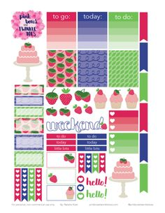 FREE Erin Condren LifePlanner sticker printable - strawberry shortcake, fruit, berries theme - vertical planner printable