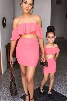 Cute Two Piece Prom Causal Dress Parent-Child Outfit Off The Shoulder Ruffle Sleeves Child Dress Winter Prom Dresses, Prom Dresses Online, Buy Dress, Ruffle Sleeve, Kids And Parenting, Off The Shoulder, Kids Outfits, Strapless Dress, Children