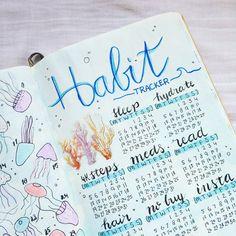 @bujo.by.marieke Bullet journal habit tracker spread march sea theme coral