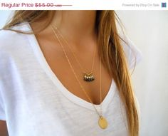 Black Friday Sale  Layered Gold Necklace Set  Coin by annikabella