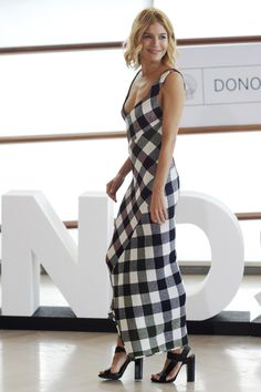 Who: Sienna Miller What: The Plaid Maxi Why: The actress embraces fall's must-have print in the form of a curve-hugging maxi paired with Pierre Hardy sandals. Get the look now: Marni dress, $2,020, net-a-porter.com. —Chrissy Rutherford - HarpersBAZAAR.com