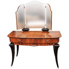 View this item and discover similar for sale at - French Art Deco walnut and black lacquer dressing table; original nickel plated hardware, 3 mirrors, 2 that open and close. Art Deco Dressing Table, Dressing Table Vanity, Dressing Tables, Vanity Tables, Vanity Desk, Art Deco Furniture, Vintage Furniture, Furniture Design, Modern Vanity