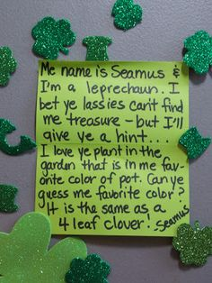 Help the Leprechaun Hide his Treasure for a St. Patrick's Day Hunt for the Kids Every year on March we get a visit from a m. My Favorite Color, My Favorite Things, Irish Eyes Are Smiling, Activity Ideas, Leprechaun, Preschool Activities, St Patricks Day, Holiday Fun, Calm